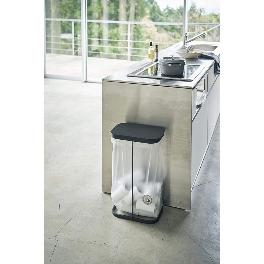横開き分別ゴミ袋ホルダー ゴミ箱 ダストボックス ワイド 分別 30L 40L キッチン ホワイト ブラック|kagu-piena|03