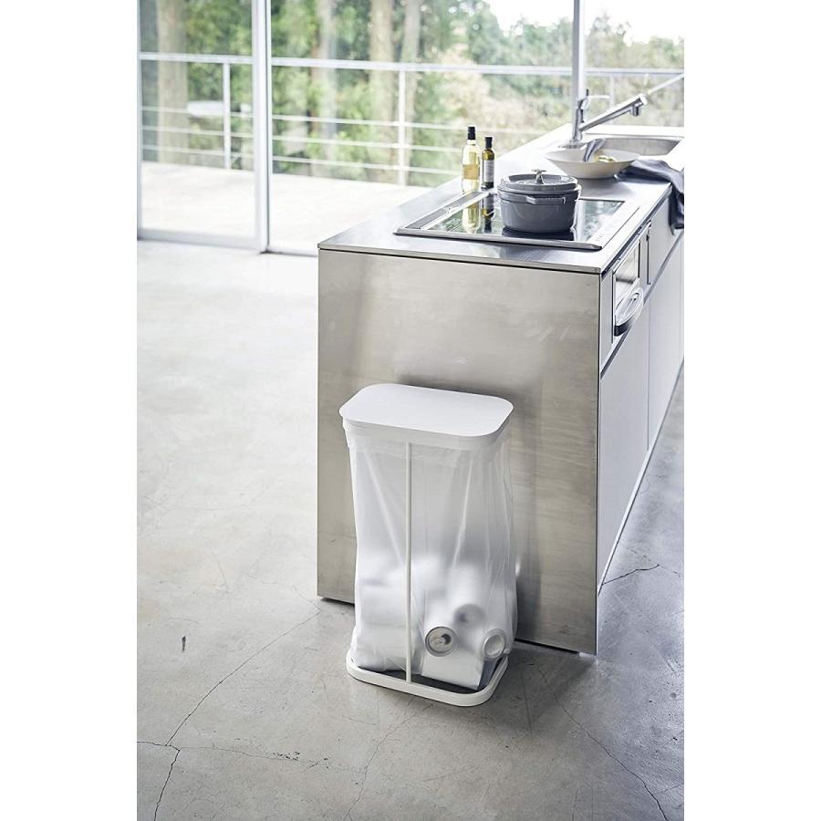 横開き分別ゴミ袋ホルダー ゴミ箱 ダストボックス ワイド 分別 30L 40L キッチン ホワイト ブラック|kagu-piena|04