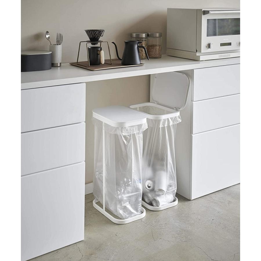 横開き分別ゴミ袋ホルダー ゴミ箱 ダストボックス ワイド 分別 30L 40L キッチン ホワイト ブラック|kagu-piena|05