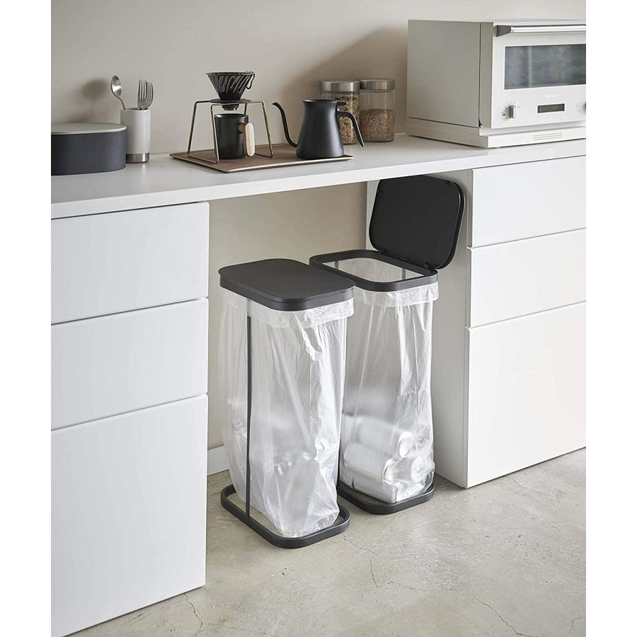 横開き分別ゴミ袋ホルダー ゴミ箱 ダストボックス ワイド 分別 30L 40L キッチン ホワイト ブラック|kagu-piena|06