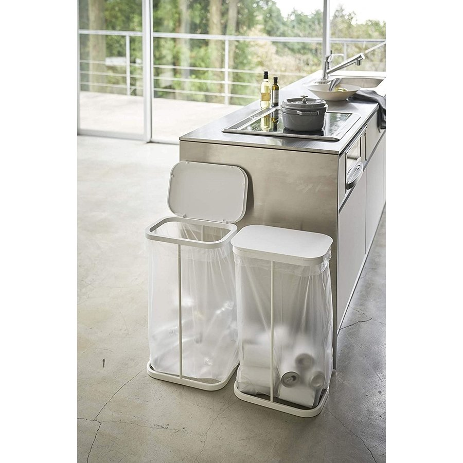 横開き分別ゴミ袋ホルダー ゴミ箱 ダストボックス ワイド 分別 30L 40L キッチン ホワイト ブラック|kagu-piena|07