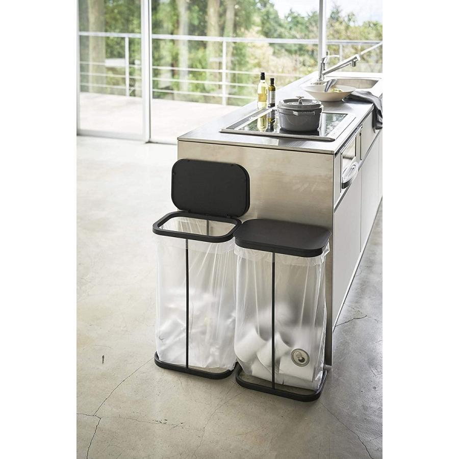 横開き分別ゴミ袋ホルダー ゴミ箱 ダストボックス ワイド 分別 30L 40L キッチン ホワイト ブラック|kagu-piena|08