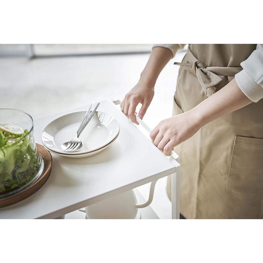 ハンドル付きキッチンカート3段 キッチンワゴン キャスター フック ホワイト ブラック ダイニング ソファテーブル サイドテーブル|kagu-piena|05