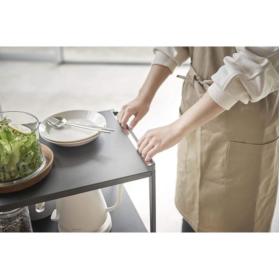 ハンドル付きキッチンカート3段 キッチンワゴン キャスター フック ホワイト ブラック ダイニング ソファテーブル サイドテーブル|kagu-piena|06