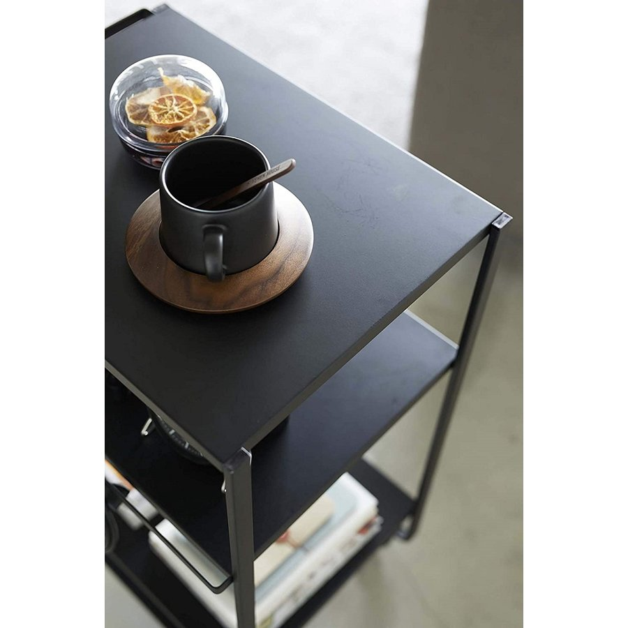 ハンドル付きキッチンカート3段 キッチンワゴン キャスター フック ホワイト ブラック ダイニング ソファテーブル サイドテーブル|kagu-piena|08