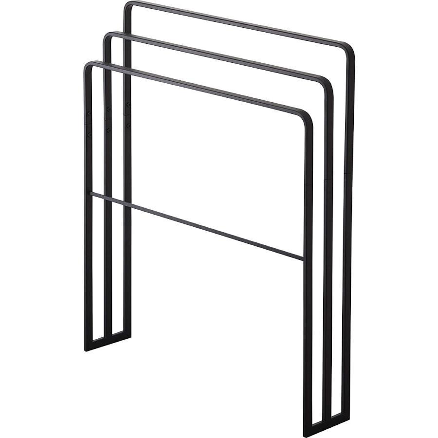 横から掛けられるバスタオルハンガー タオル掛け 大判サイズも干せる 3連 薄型 ホワイト ブラック 白 黒 洗濯物干し|kagu-piena