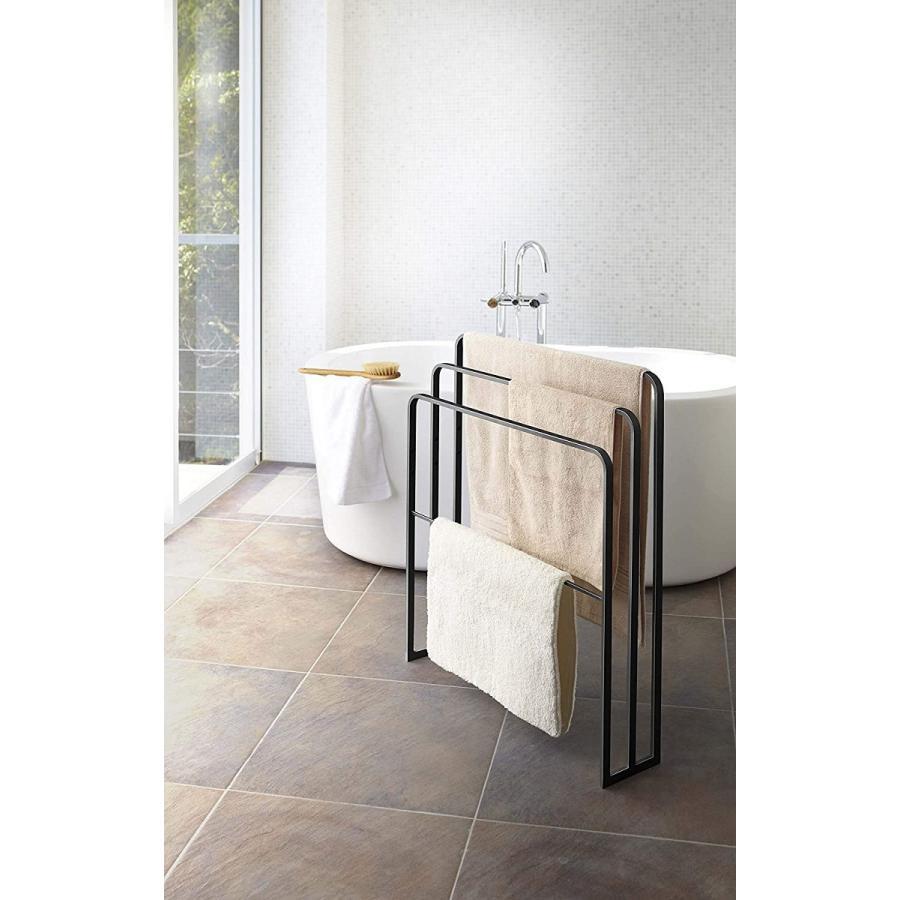 横から掛けられるバスタオルハンガー タオル掛け 大判サイズも干せる 3連 薄型 ホワイト ブラック 白 黒 洗濯物干し|kagu-piena|12