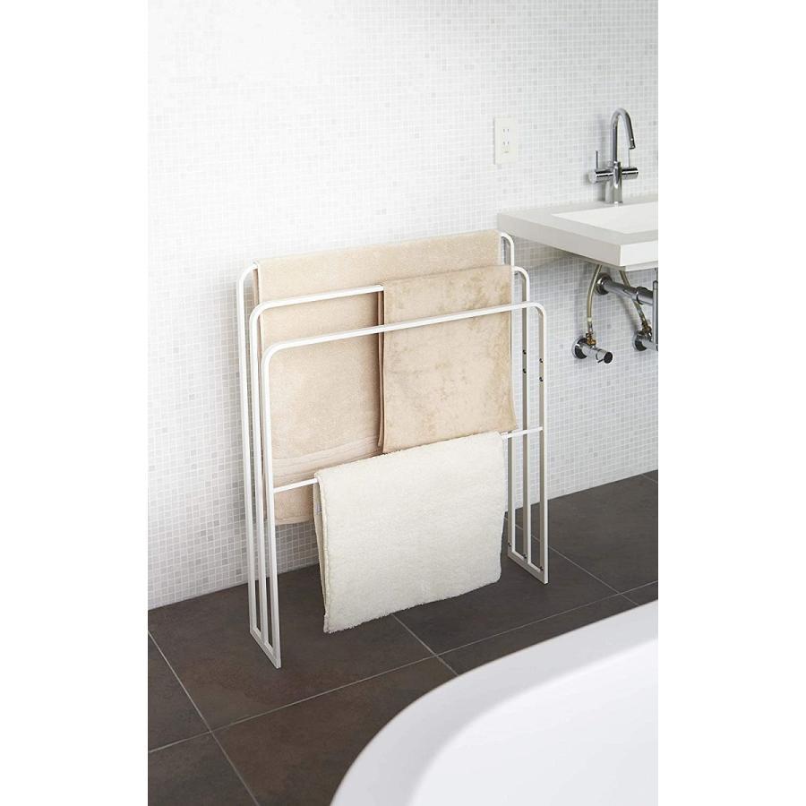 横から掛けられるバスタオルハンガー タオル掛け 大判サイズも干せる 3連 薄型 ホワイト ブラック 白 黒 洗濯物干し|kagu-piena|04