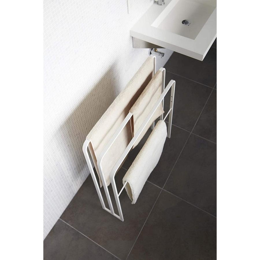 横から掛けられるバスタオルハンガー タオル掛け 大判サイズも干せる 3連 薄型 ホワイト ブラック 白 黒 洗濯物干し|kagu-piena|05