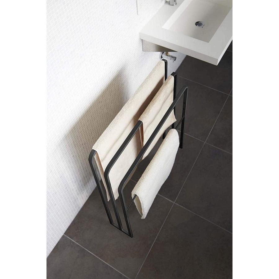 横から掛けられるバスタオルハンガー タオル掛け 大判サイズも干せる 3連 薄型 ホワイト ブラック 白 黒 洗濯物干し|kagu-piena|06