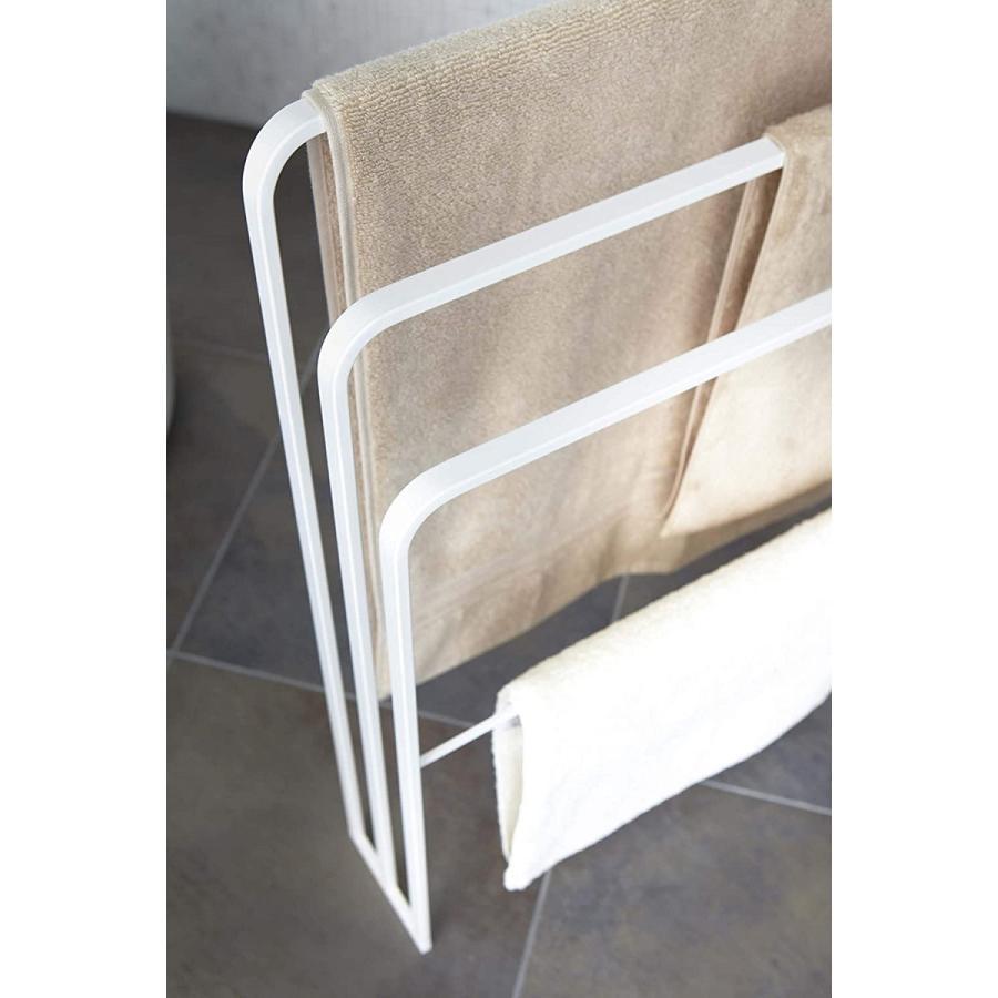 横から掛けられるバスタオルハンガー タオル掛け 大判サイズも干せる 3連 薄型 ホワイト ブラック 白 黒 洗濯物干し|kagu-piena|07