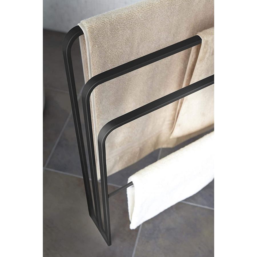 横から掛けられるバスタオルハンガー タオル掛け 大判サイズも干せる 3連 薄型 ホワイト ブラック 白 黒 洗濯物干し|kagu-piena|08