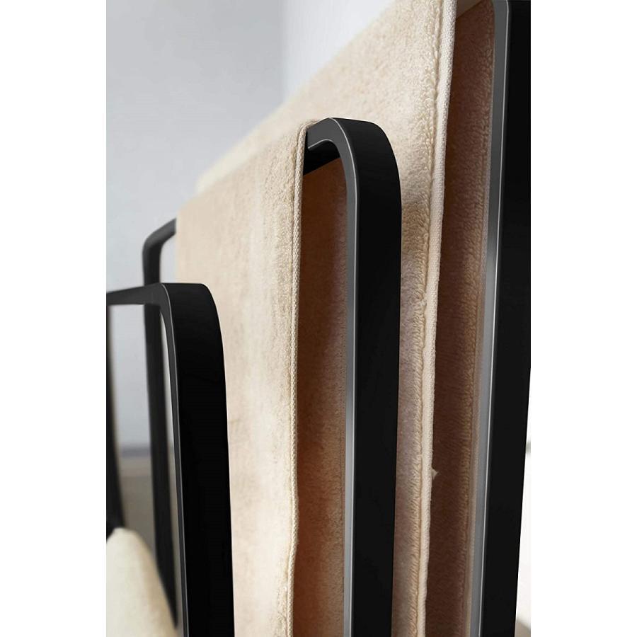 横から掛けられるバスタオルハンガー タオル掛け 大判サイズも干せる 3連 薄型 ホワイト ブラック 白 黒 洗濯物干し|kagu-piena|10