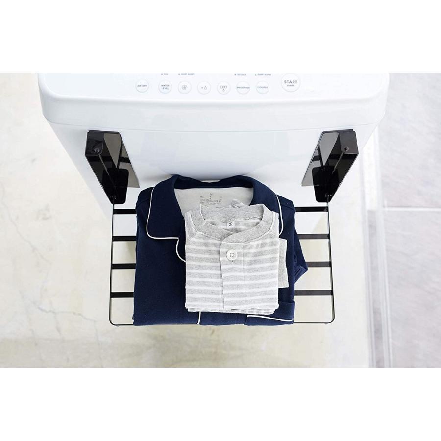 洗濯機横マグネット折り畳み棚 省スペースラック 折り畳み式 スペース有効活用 ホワイト ブラック 賃貸 脱衣所 バスルーム|kagu-piena|08