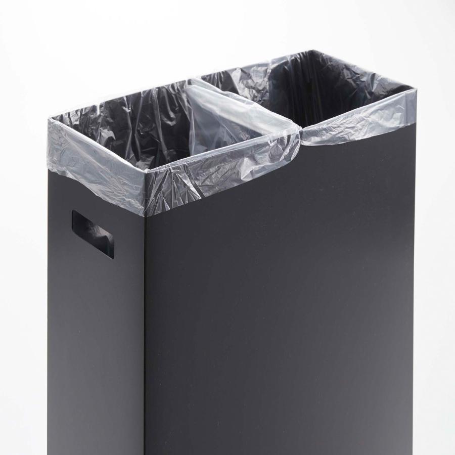 スリム蓋付きゴミ箱 2個組 ホワイト ブラック 組み立て簡単 折りたたみ 分別 山崎実業 Yamazaki|kagu-piena|08