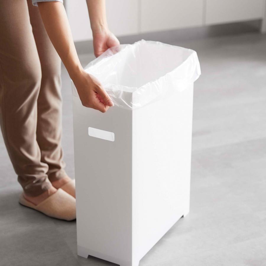 スリム蓋付きゴミ箱 2個組 ホワイト ブラック 組み立て簡単 折りたたみ 分別 山崎実業 Yamazaki|kagu-piena|10