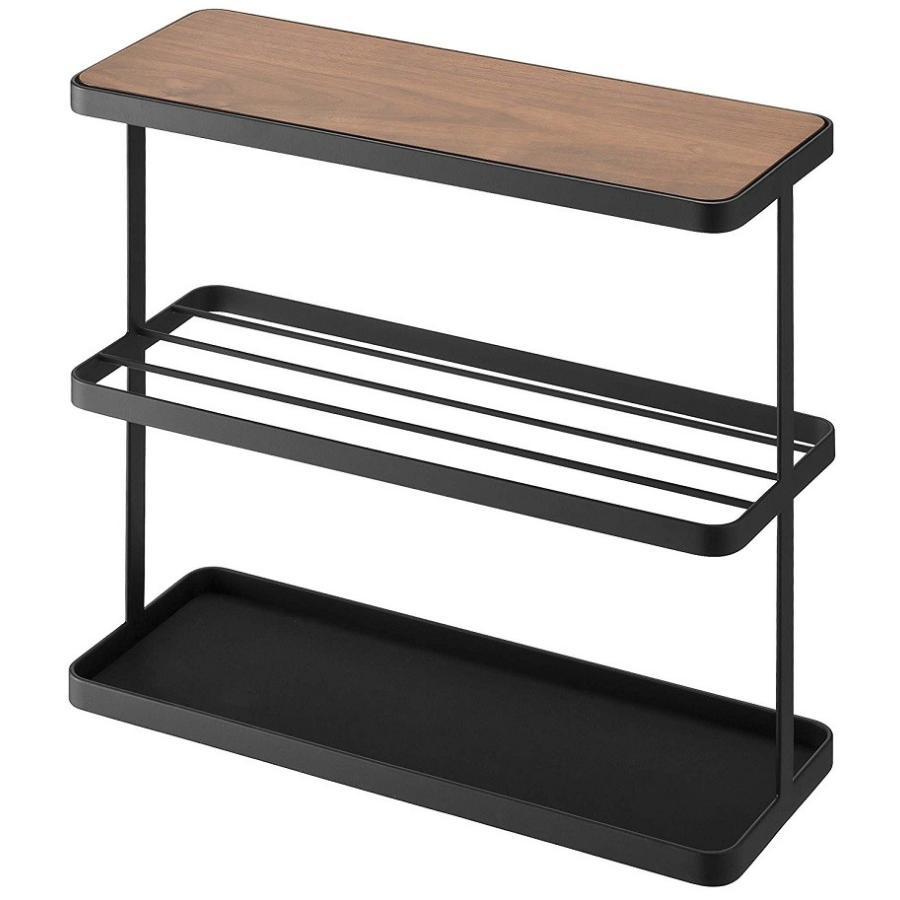 サイドテーブル タワー ブラック ナイトテーブル ソファーテーブル スリム ベッド脇 棚 ブラウン 木目 スチール製|kagu-piena