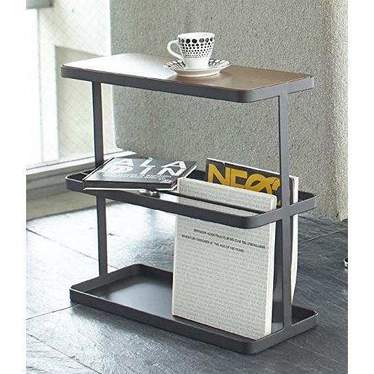 サイドテーブル タワー ブラック ナイトテーブル ソファーテーブル スリム ベッド脇 棚 ブラウン 木目 スチール製|kagu-piena|02