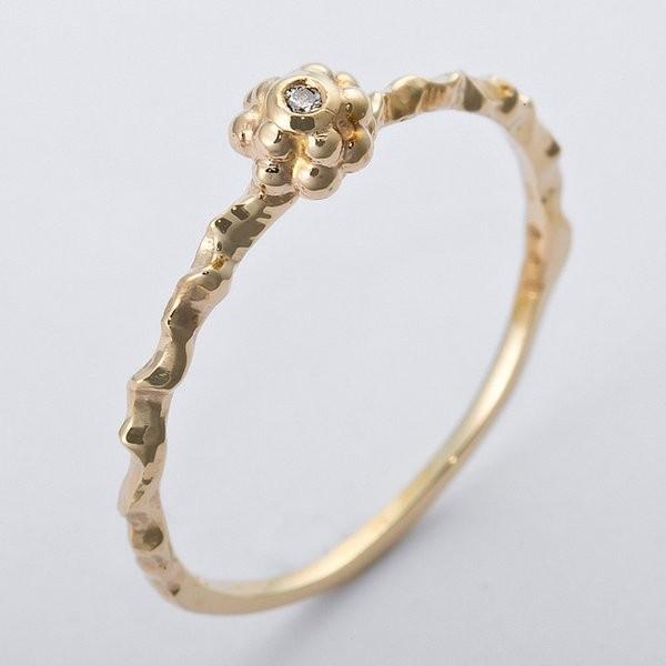格安 K10イエローゴールド 天然ダイヤリング 指輪 ダイヤ0.01ct 11.5号 アンティーク調 フラワーモチーフ, A-スロット a8371875