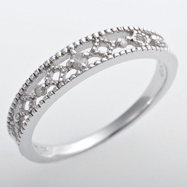 超歓迎された K10ホワイトゴールド 天然ダイヤリング 指輪 ピンキーリング ダイヤモンドリング 0.02ct 1.5号 アンティーク調 プリンセス, 芸北町 673768e5