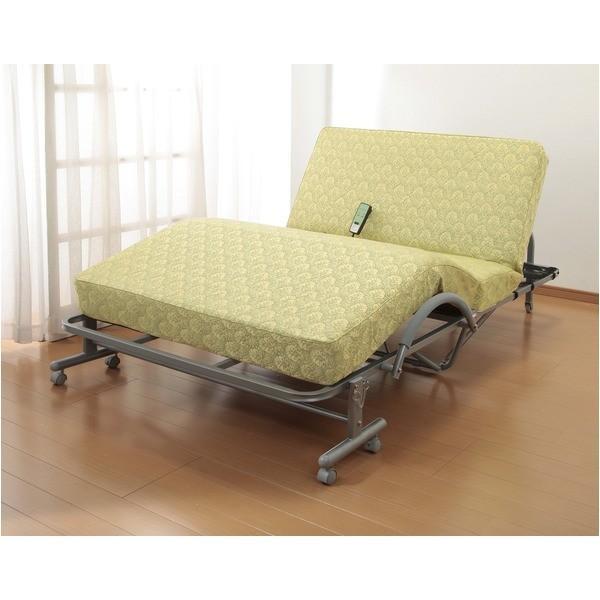 折りたたみシングルベッド/極厚収納式電動リクライニングベッド 高反発スプリングマット リモコン/キャスター付き〔代引不可〕