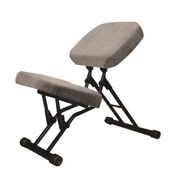 学習椅子/ワークチェア 〔グレー×ブラック〕 幅440mm 日本製 折り畳み スチールパイプ 『セブンポーズチェア』〔代引不可〕