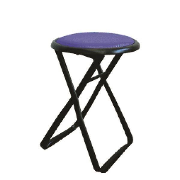 折りたたみ椅子 〔6脚セット ブルー×ブラック〕 幅32cm 日本製 日本製 スチールパイプ 『キャプテンチェア』〔代引不可〕