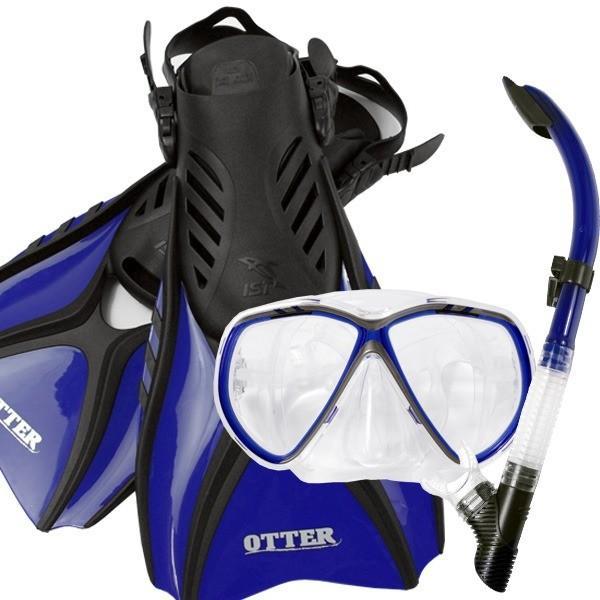 レディース シュノーケリング 3点セット 〔Sサイズ ブルー〕 2眼型 シリコン製マスク フィン メッシュバッグ付き 『IST CF02』