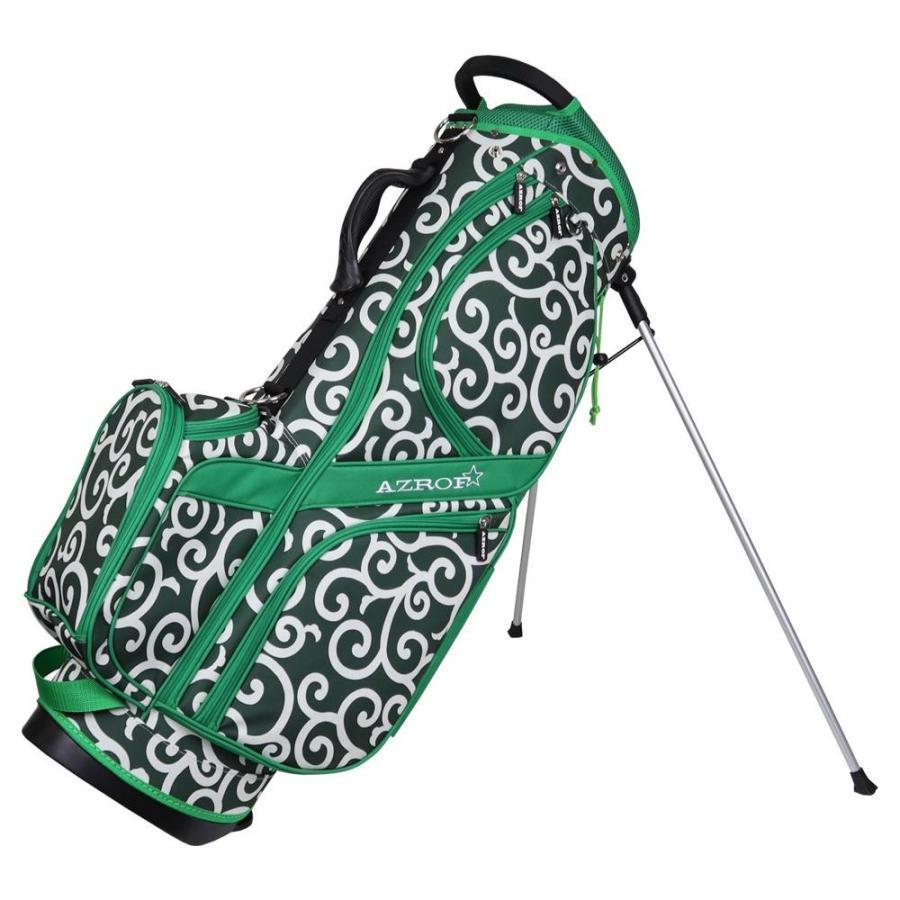 AZROF(アズロフ) スタンドキャディバッグ カラクサグリーン 161楽 持ち運び ゴルフクラブ