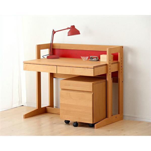 MUCMOC(ムックモック) 木の学習机 2点セット(デスク+ワゴン)94cm幅 学習デスク 勉強机 おしゃれ 男の子 女の子 女の子 子供