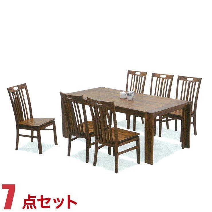ダイニングテーブルセット 6人掛け アカシアウッド 高級感 カントリー風 テーブル 7点セット テーラー 幅180cmテーブル 椅子6脚 セット