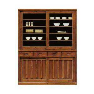 食器棚 幅150cm ブラウン 木製 3077 150H 開梱設置