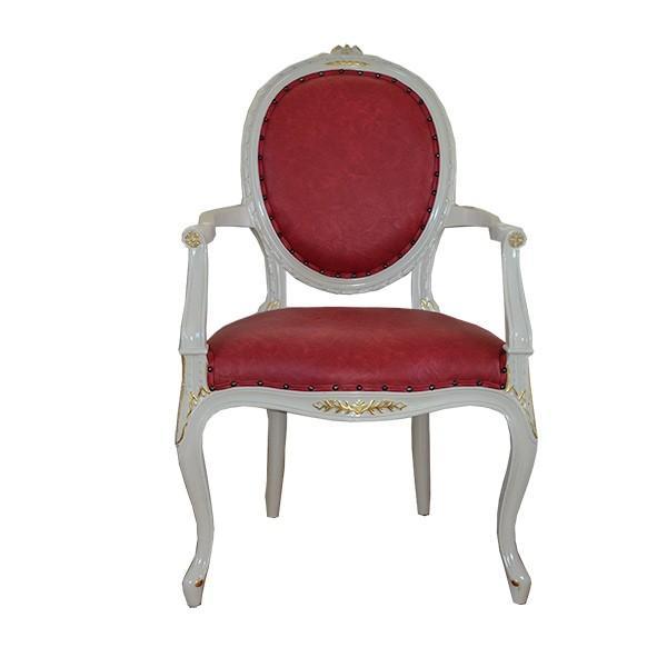 ロココ調家具:アイボリーゴールドアームチェアー【送料無料】PVCワインレッド