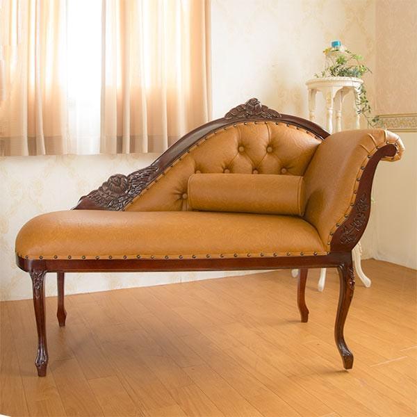 輸入家具:ロココ調マホガニーカウチソファ:PVCブラウン 輸入家具:ロココ調マホガニーカウチソファ:PVCブラウン