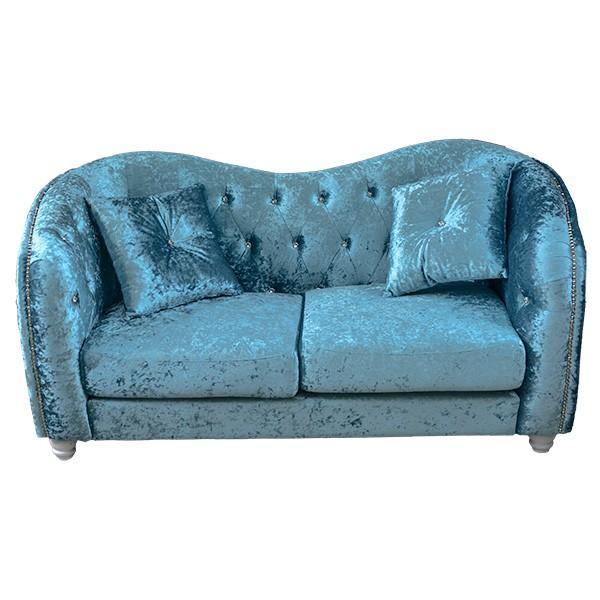 ロココ調家具クリスタルが綺麗なラブソファ:ブルーグレイ ロココ調家具クリスタルが綺麗なラブソファ:ブルーグレイ