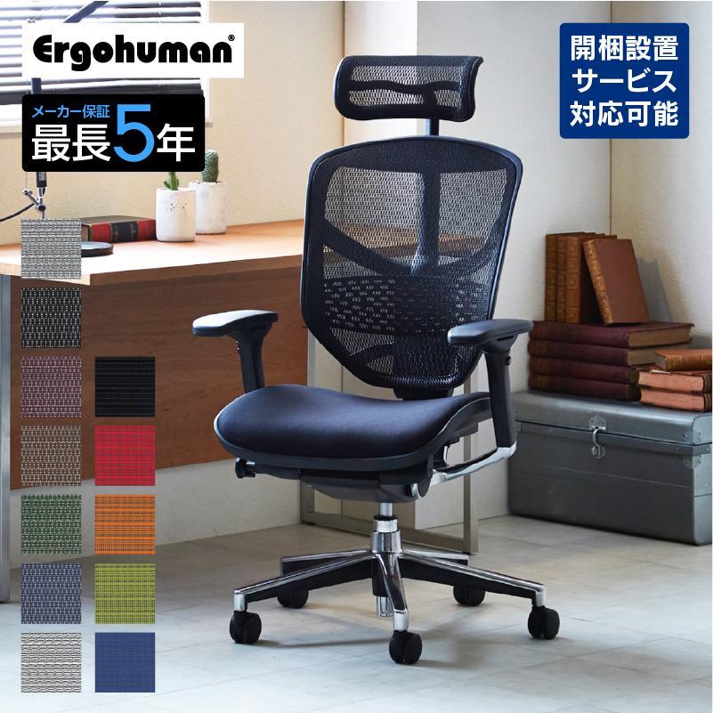 オフィスチェア オフィスチェアー パソコンチェア ヘッドレスト付き 肘置き メッシュ エンジョイ キャンペーンもお見逃しなく 割引 エルゴヒューマン EJ-HAM テレワーク