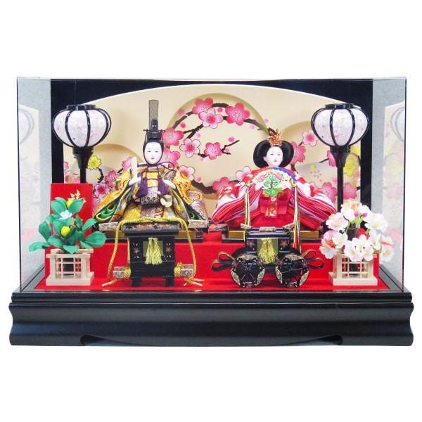 雛人形 ひな人形 親王飾り ケース飾り コンパクト かわいい 節句 三月 雛飾り ひな祭り 蒔絵金輪桜 51X28X33cm