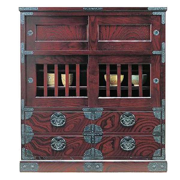 受注生産 民芸家具 和 茶棚 85cm幅 筑後民芸 84茶箪笥-2型 開梱設置