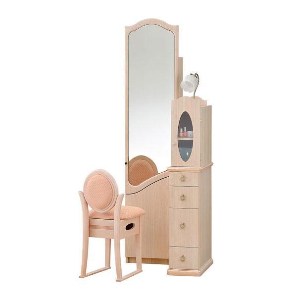国産 ドレッサー 化粧台 化粧台 鏡台 姿見 収納イス付 2色対応 ロマンス 20一面収納 開梱設置
