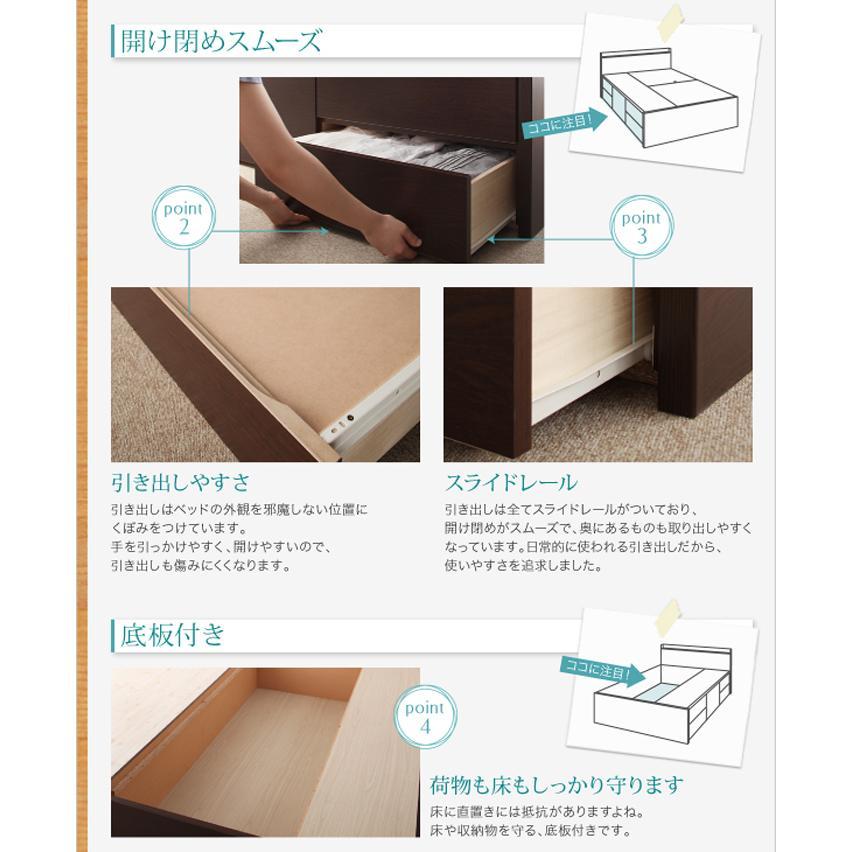 国産ベッド シングル ベッド  5杯引出 BOX型 頑丈すのこ 薄型カウンター フレームのみ コンセント ヘラクレス|kaguranger|14