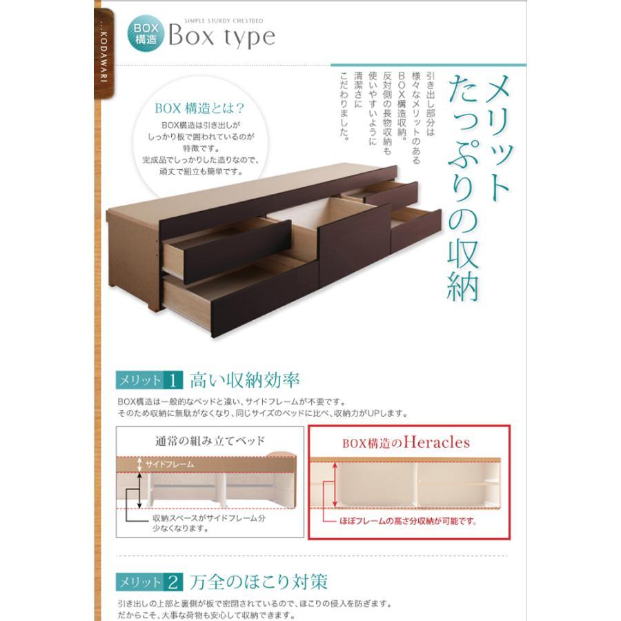 国産ベッド シングル ベッド  5杯引出 BOX型 頑丈すのこ 薄型カウンター フレームのみ コンセント ヘラクレス|kaguranger|07