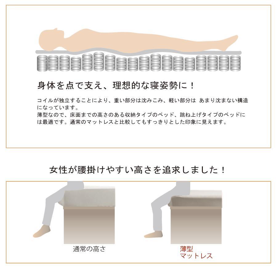 厚さ12cm マットレス セミシングルショート 薄型 日本製 国産 ポケットコイル ホワイトリーフ 一部地域送料無料 セミシングルショート 幅82cm 長さ180cm kaguranger 06