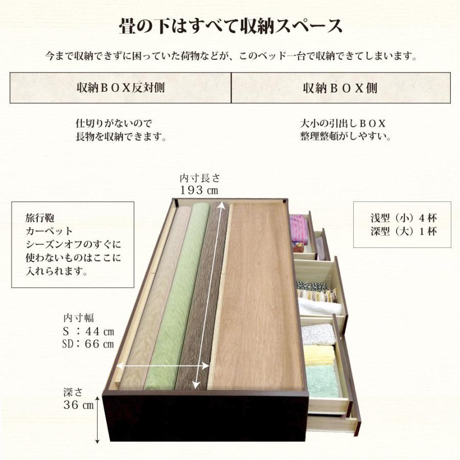 畳ベッド セミダブル 収納ベッド ヘッドレス 引出レール付き 送料無料 暁月 あかつき  kaguranger 06