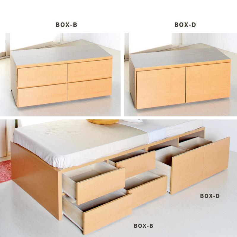 セミダブル  ティーノ 収納ベッド 日本製 選べる引出 収納付き 2BOX フラット パネル 幅120cm #14 本体フレームのみ|kaguranger|06