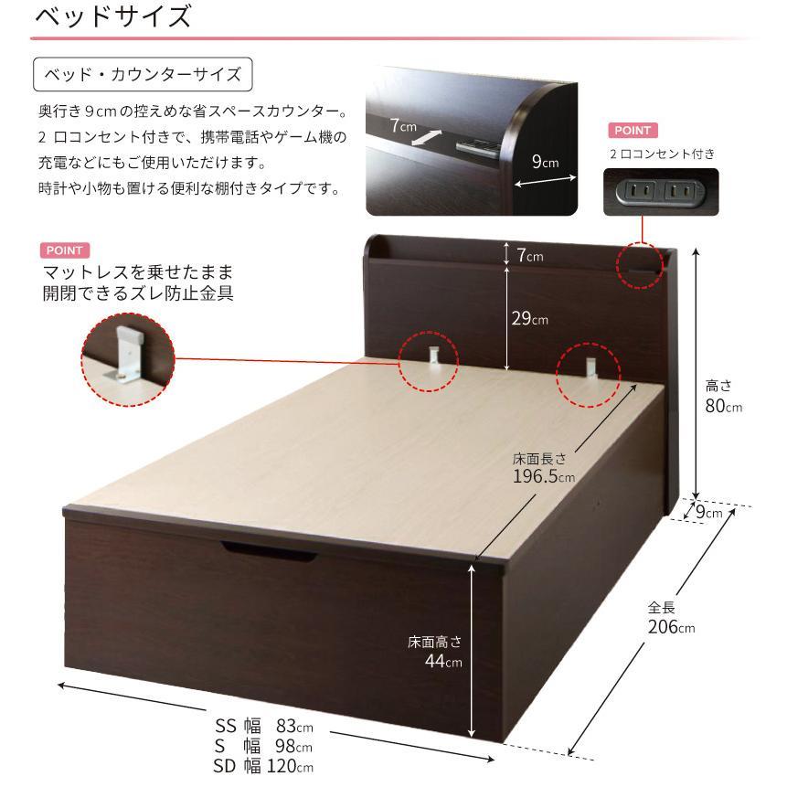 床面高さ44cm 関東設置込み  グランド セミダブル 日本製 縦開き ガス圧式  スコット ベッド 本体フレームのみ  コンセント付き|kaguranger|05