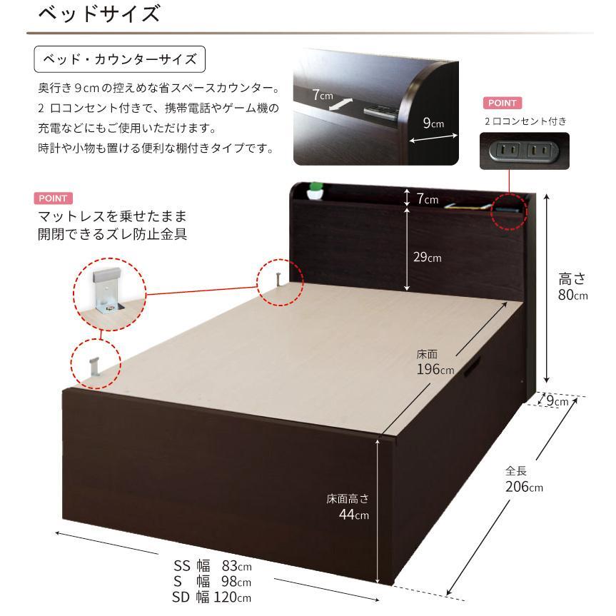 床面高さ44cm 関東設置込み  グランド  セミダブル 日本製 横開き ガス圧式  スコット  本体フレームのみ コンセント付き|kaguranger|07