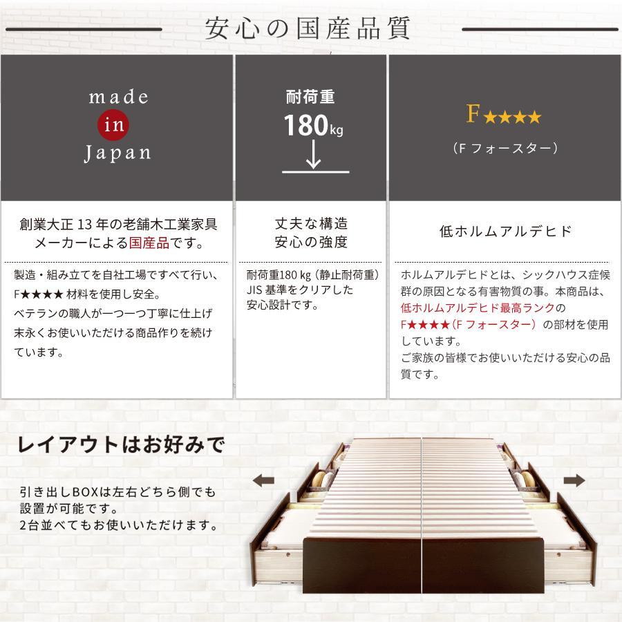 すのこベッド シングル 収納ベッド スノコベッド 日本製 大型引出 OHS 引き出し付き 大容量  フラット パネル 本体フレームのみ|kaguranger|13