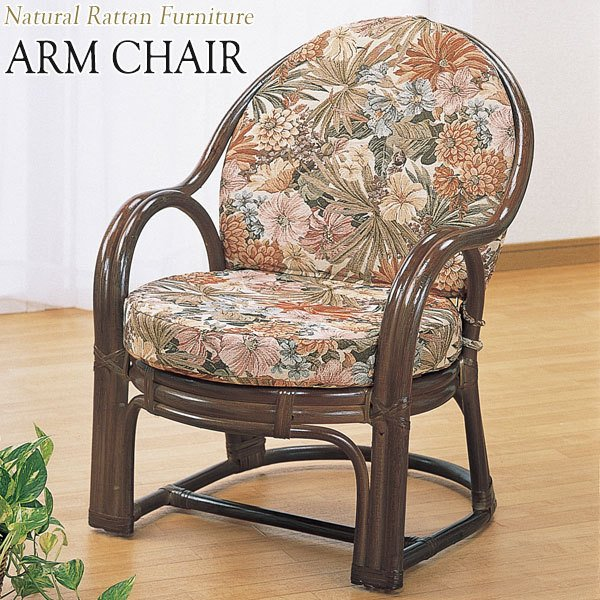 アームチェア 椅子 1Pソファ 1人掛 幅57 奥行63 高さ73cm ラタン家具 籐家具 天然素材 IS-0558