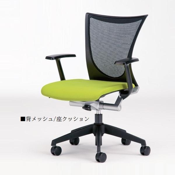 オフィスチェア パソコンチェア デスクチェア 椅子 いす イス 背メッシュ 座クッション 肘付き 樹脂脚 樹脂脚 キャスター付 シンクロロッキング ハイバック NO-0058P
