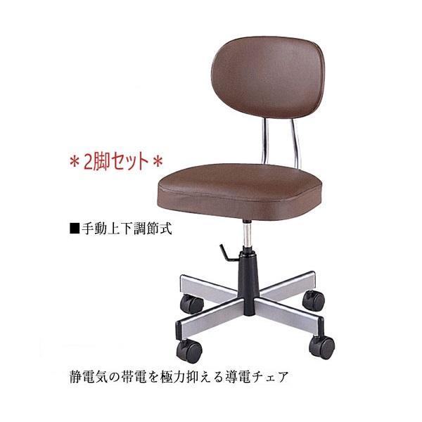 2脚セット 導電チェア 作業椅子 作業椅子 ワークチェア ミドルタイプ 背付 レザー張り キャスター付 手動上下調節 NO-0630